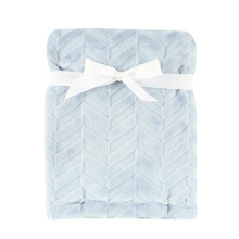 Hudson Baby Burnout Plush Blanket, Blue Herringbone