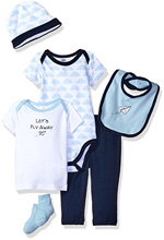 Hudson Baby 6 Piece Let's Fly Away Gift Set 0-6 Months