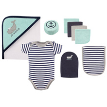 Hudson Baby 9-Piece Bath Time Gift Box Set, Whale