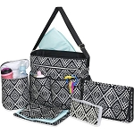 Tender Kisses Black Geometric 8pc Diaper Bag Super Set