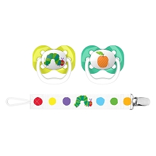 Dr Brown's Eric Carle Advance Pacifier with Clip Holder Stage 1, 0-6 Months, Caterpillar & Orange,2 Pack