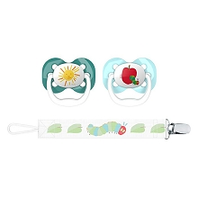 Dr Brown's Eric Carle Advance Pacifier with Clip Holder Stage 1, 0-6 Months, Sun & Apple,2 Pack
