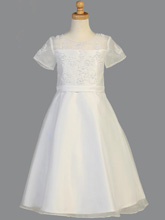Lito Children's A-Line Beaded Satin Communion Dress