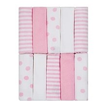 Just Born® Dots and Stripes 10 Pack Washcloths, Pink