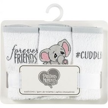 Precious Moment Elephant Washcloth 3 Pack - Grey