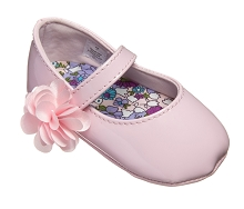 Baby Deer Baby Girl Shoes with Flower-Patent Pink
