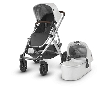 Uppababy 2018 Vista Stroller Bryce (White Marl/Silver/Chestnut Leather)
