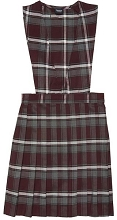 French Toast 50% Off School Uniform Girl V-Neck Jumper Plaid, Burgundy