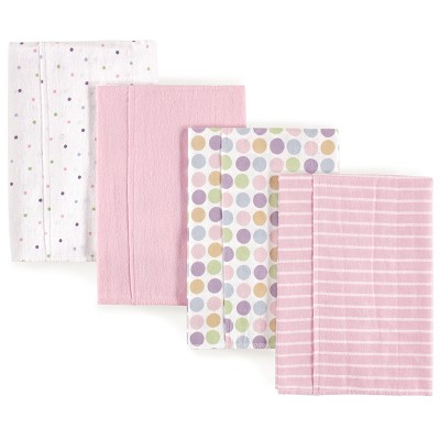 Luvable Friends Flannel Burp Cloth 4 Pack, Pink Polka Dots