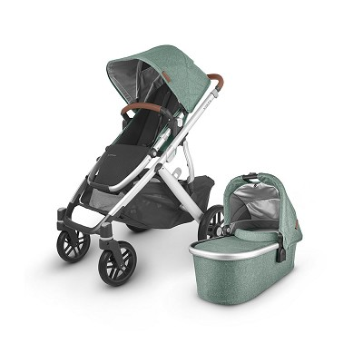 Uppababy 2020 Vista V2 Stroller Emmett (Green Melange/Silver/Saddle Leather