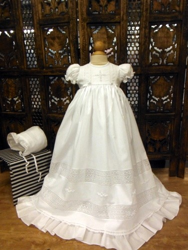 Will'beth Embroidery Cross Christening Gown