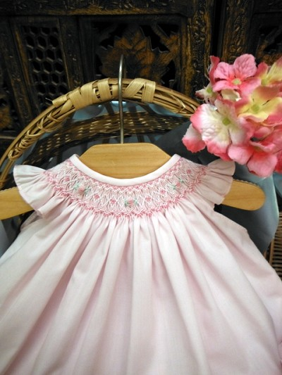 Will'beth Baby Dress with Bonnet Pink
