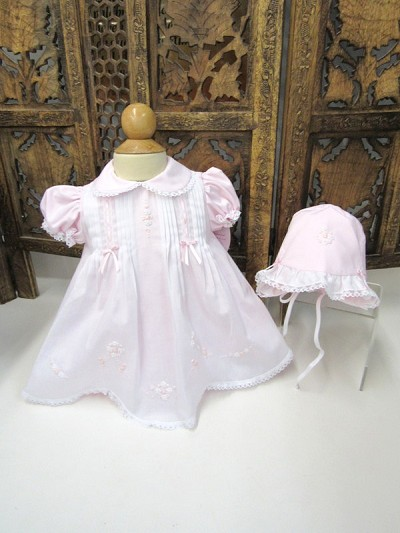 Will'beth Sweet Pink Dress with Bonnet