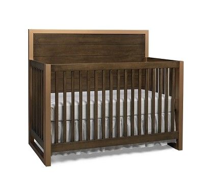 Dolce Babi Nicco Full Panel Convertible Crib Gold Brown with Gold Metal