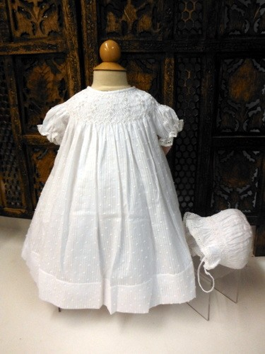 Willbeth Smocked Bishop Dress with Bonnet White