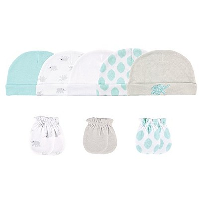 Hudson Baby Elephant 8 Pieces Cap and Mittens 0-6 Months