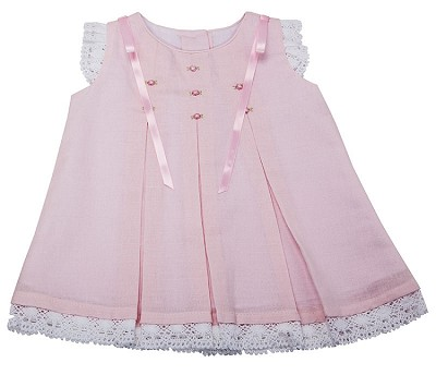 fe751b84b Karela Kids Dress Cotton with Lace and Embroidery Flower White-Pink