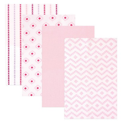 Hudson Baby 4 Pack Flannel Receiving Blanket, Girl Modern