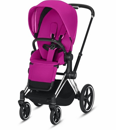 Cybex ePriam Stroller Chrome/Black Frame with Fancy Pink Seat