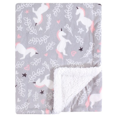 Hudson Baby Girl Mink Blanket with Sherpa Backing, Whimsical Unicorn