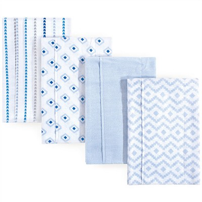 Hudson Baby Flannel Burp Cloth 4 Pack, Boy Modern