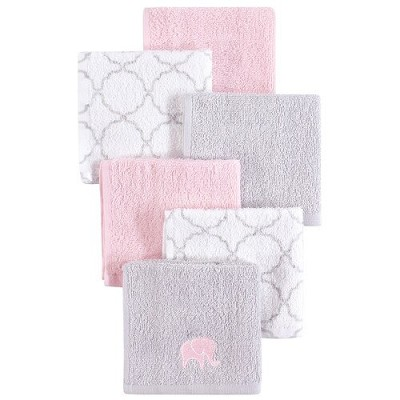 Luvable Friends Washcloth 6-Pack Girl Pink Elephant