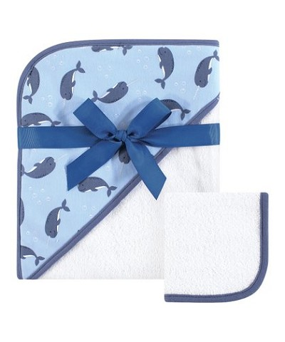 Hudson Baby Hooded Towel and  Washcloths Narwhal