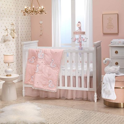 Lambs & Ivy Swan Princess Bedding Crib Set 3 Pieces