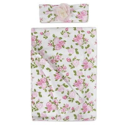 Baby Essentials Pale Floral Swaddle Blanket with Headband