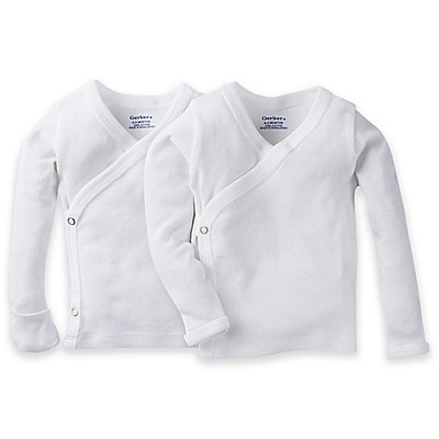 Gerber Snap Side Shirt 2-Pack White- Newborn