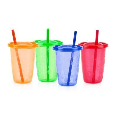 Nuby 4pk 10oz Wash Or Toss Cups With Straws