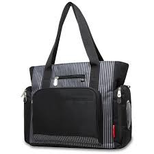 Fisher Price Deluxe Diaper Bag 3 Pieces Set Stripe Black Grey