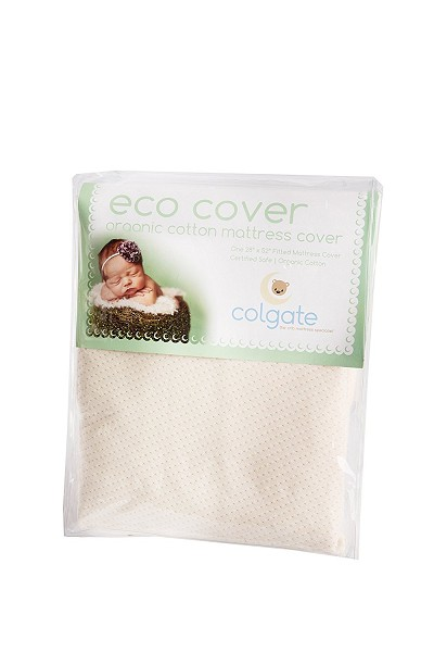 Colgate Organic Cotton Fitted Crib Mattress Cover with Waterproof Backing