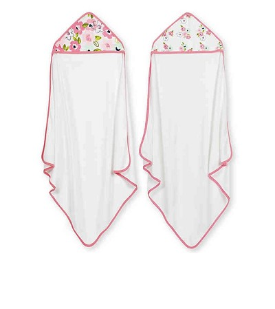 Just Born® Blossom 2 Pack Hooded Towel Pink