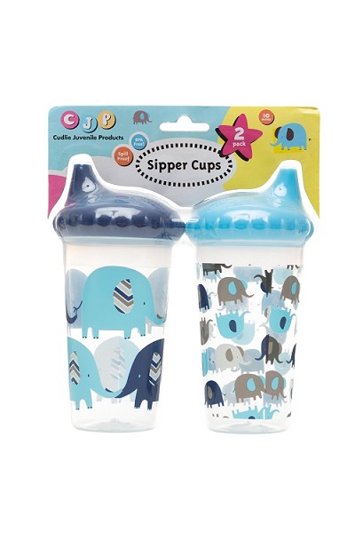 Cuddlie Accessories Elephant Sipper Cup 2-Pack  Boy