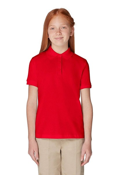 French Toast 50% Off School Uniform Interlock Polo, Girl-Red