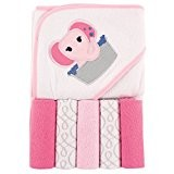 Luvable Friends 5-Pieces Hooded Towel and Washcloths Elephant-Pink