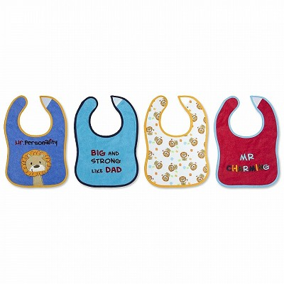Baby Essential 4 Pack Feeder Bibs Mr Personality