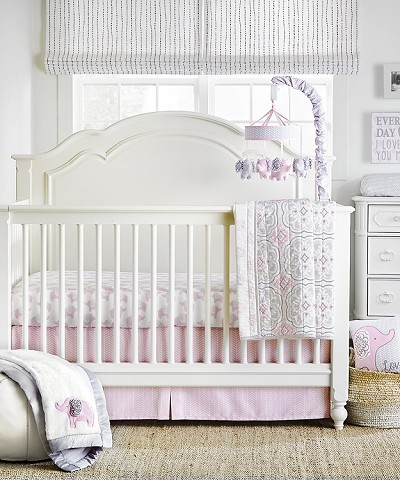 Wendy Bellissimo Elodie Pink/Grey Elephant 4 Piece Crib Bedding Set