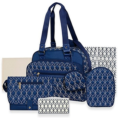 A.D.Sutton Deluxe Navy Diaper Bag  7-Pieces