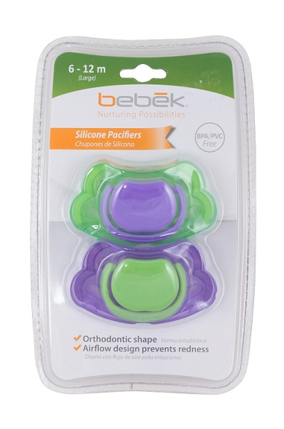 Bebek Baby Silicone Pacifier 2-Pack 6-12 Months