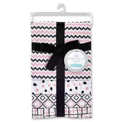 Petite L'amour Girl 4 Pack Flannel Receiving Blanket Pink
