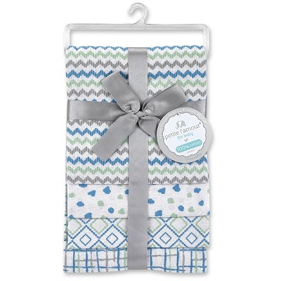 Petite L'amour Boy 4 Pack Flannel Receiving Blanket Blue