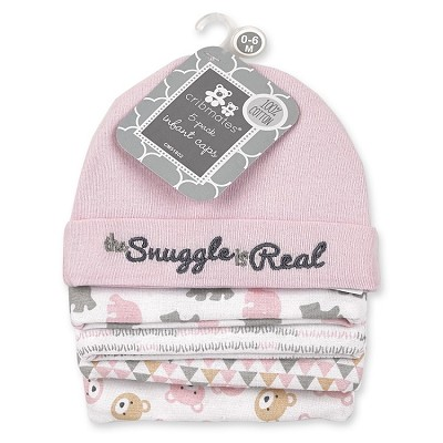 Regency Baby Cribmates The Snuggle is Real Infant Caps 5-Pack, Pink
