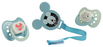 Cudlie Accessories Mickey Mouse 2 Pack Orthodontic Pacifier, 1 Clip Holder Set