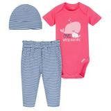 Gerber Whale 3 Pieces Bodysuit, Cap and Pants, 3-6 Months-Girl
