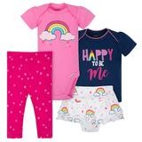 Gerber Rainbows 4 Pieces Bodysuit Girl Set, 3-6 Months