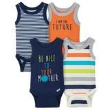 Gerber Stripes 4 Pack Sleveless Onesies®, 3-6 Months-Boy