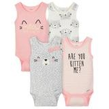 Gerber Cat 4 Pack Sleveless Onesies®, 6-9 Months-Girl