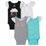 Gerber CLouds 4 Pack Sleveless Onesies®, 6-9 Months-Girl